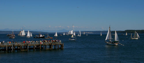 Crowds enjoying the spectacle of the Port Townsend Wooden Boat Festival