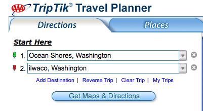 Washington State Road Map service provided by AAA, used with the kind permission of the AAA. Copyright AAA